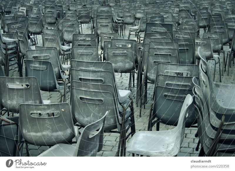 Journey to Jerusalem Chair Places Peter's square Rome Vatican Stack Plastic chair Gray Gloomy Many Equal Consistent Muddled Seating Row of seats Confusing
