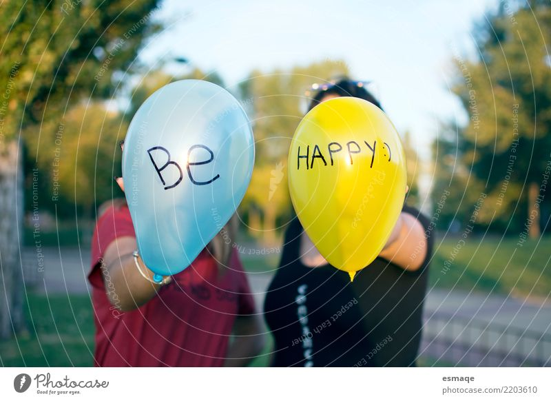 Be happy Human being Youth (Young adults) Blue Joy Girl 18 - 30 years Adults Life Yellow Lifestyle Natural Laughter Exceptional Party Couple Together