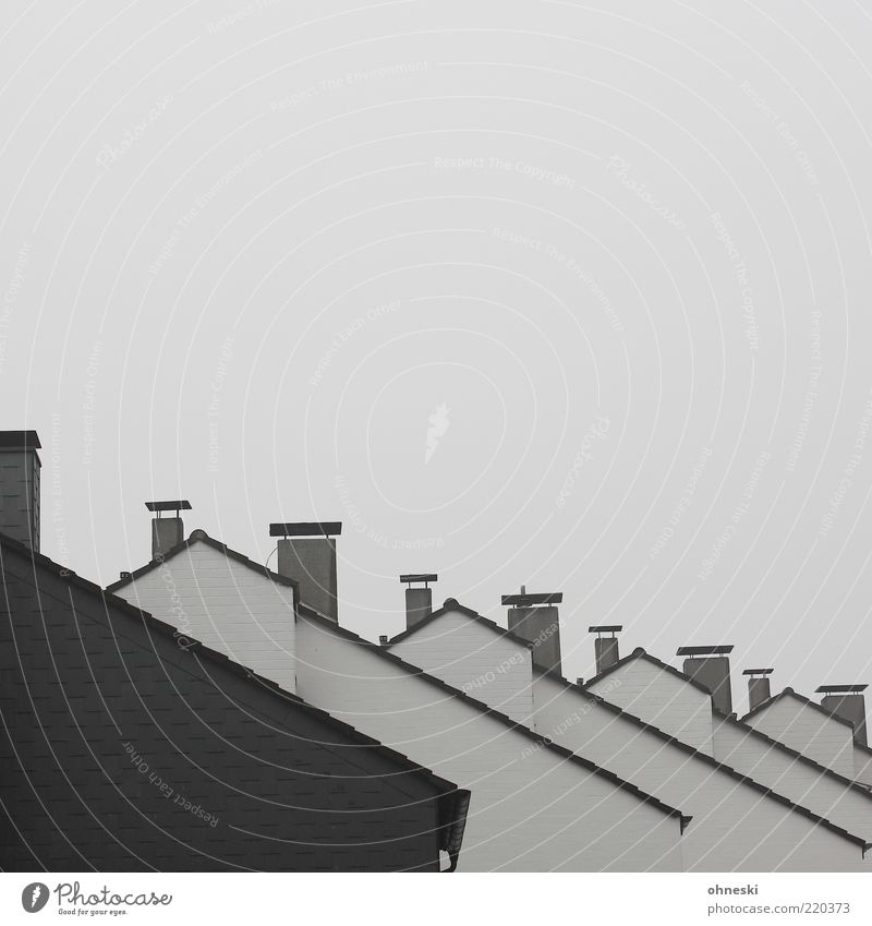 neighborhood House (Residential Structure) Detached house Manmade structures Building Roof Chimney Gray Subdued colour Copy Space top Behind one another