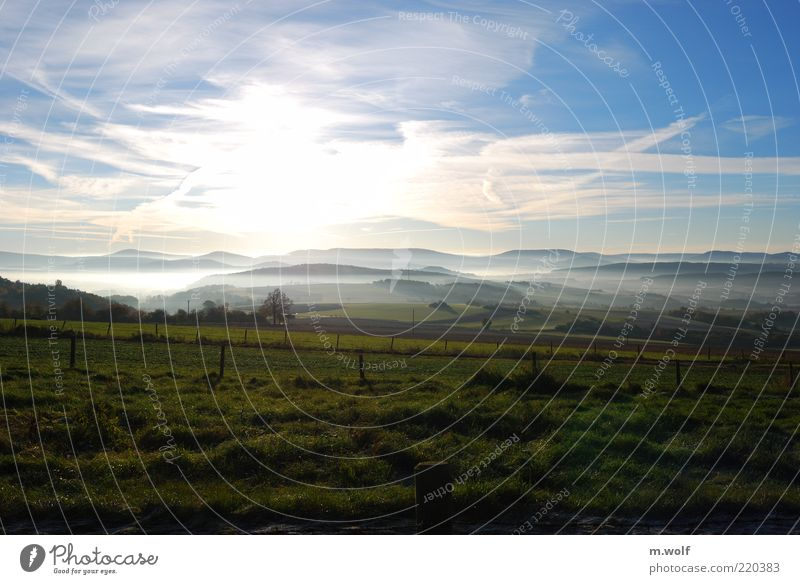 Sky Nature Green Blue Clouds Relaxation Meadow Autumn Mountain Landscape Environment Moody Field Horizon Fog Simple