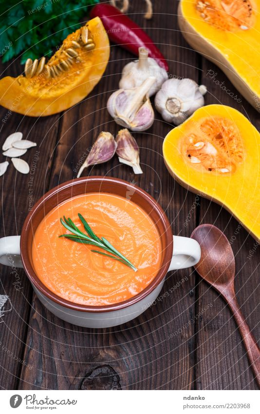 thick pumpkin soup Nature Red Dish Eating Yellow Autumn Wood Nutrition Decoration Fresh Table Herbs and spices Kitchen Vegetable Seasons Harvest