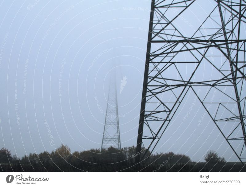 Energy giants in the fog Technology Energy industry Environment Landscape Plant Sky Autumn Weather Fog Tree Metal Steel Dark Large Gray Black Colour photo