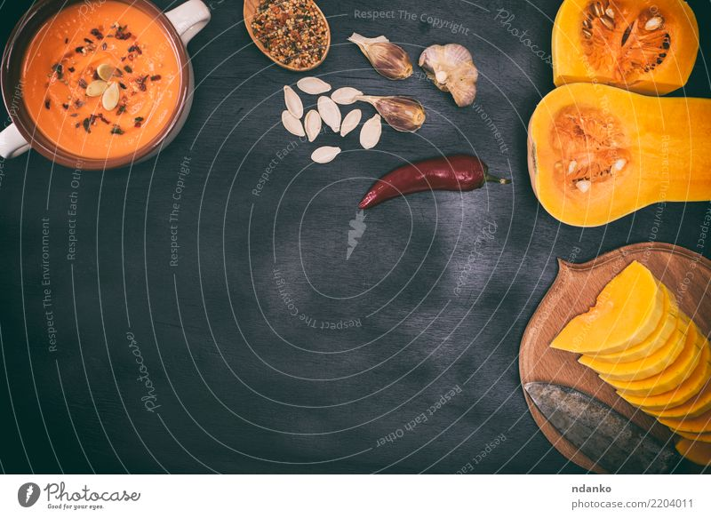 pieces of fresh pumpkin Nature Dish Black Eating Yellow Autumn Wood Nutrition Decoration Fresh Table Herbs and spices Kitchen Vegetable Seasons Harvest