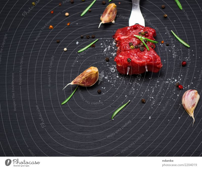 two pieces of beef strung Green Red Black Eating Natural Wood Food Fresh Table Herbs and spices Kitchen Dinner Meat Meal Blood Cut