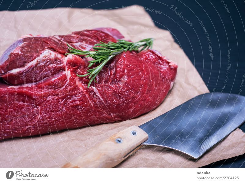 raw beef fillet Food Meat Herbs and spices Dinner Knives Table Kitchen Paper Wood Eating Fresh Natural Green Red Black background Beef Blood board butcher Chop
