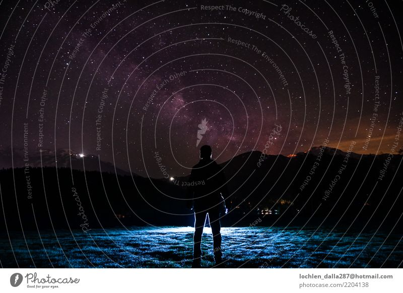 Milky Way Environment Nature Landscape Sky Night sky Stars Honor Bravery Success Might Colour photo Multicoloured Exterior shot Shadow Contrast Silhouette
