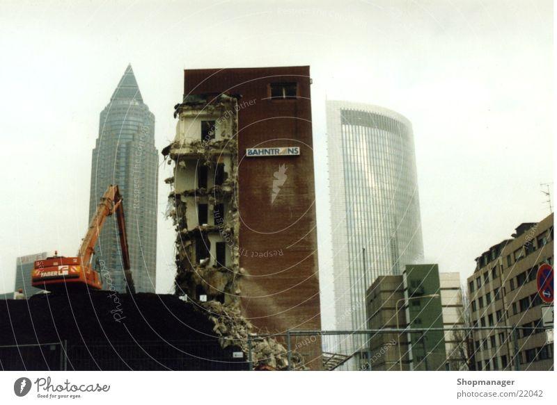 Graffiti Architecture High-rise Frankfurt Destruction Dismantling Excavator Smog Rip Building rubble Art Annihilate Exebition centre