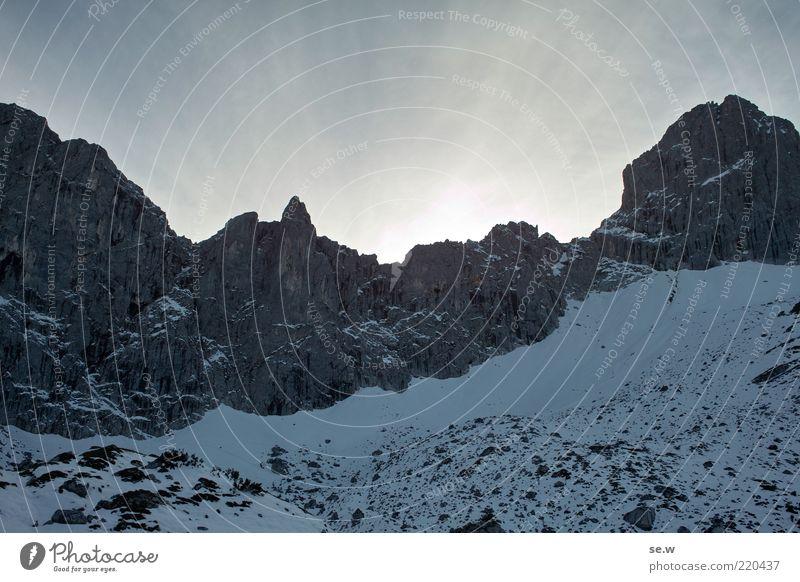 White Blue Summer Winter Calm Loneliness Snow Mountain Lanes & trails Rock Threat Alps Longing Illuminate Peak Beautiful weather
