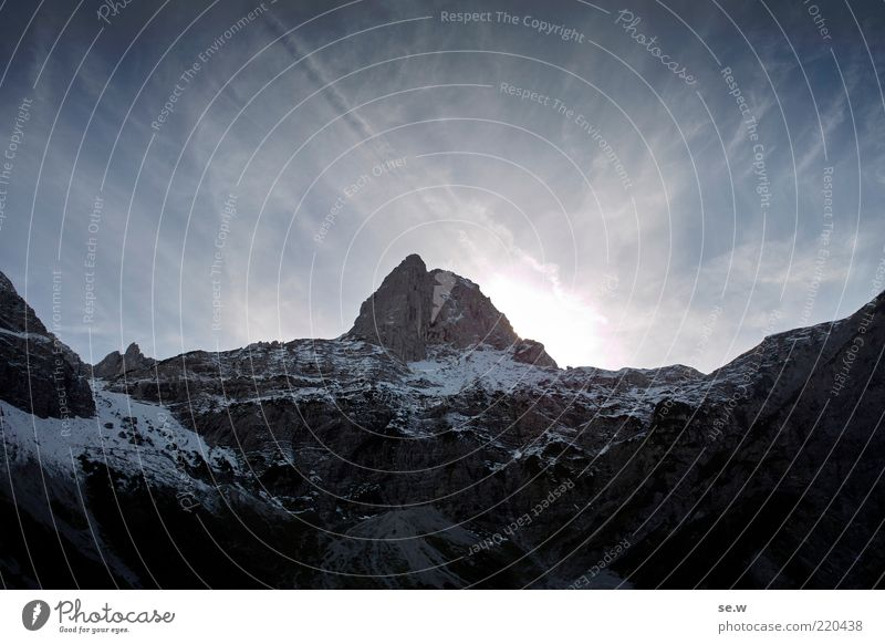 White Blue Summer Winter Calm Black Loneliness Far-off places Dark Snow Mountain Alps Longing Illuminate Beautiful weather Wanderlust
