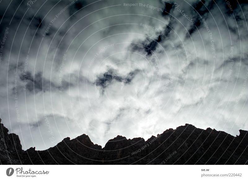 Illumination on the horizon ...   Karwendel [5] Sky Clouds Summer Beautiful weather Rock Alps Mountain Karwendelgebirge Laliderer Peak Illuminate Infinity Blue