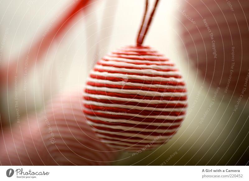 Christmas & Advent White Red Style Elegant Design Modern Lifestyle Living or residing Round Decoration Hang Hip & trendy Glitter Ball Striped