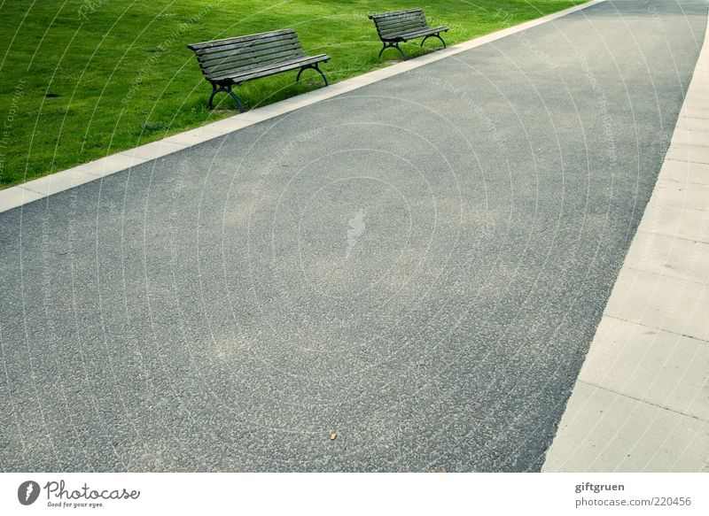 Street Meadow Grass Lanes & trails Park 2 Empty Perspective In pairs Bench Asphalt Things Furniture Sidewalk Retirement Seating
