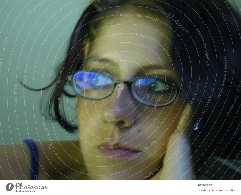 i am dreaming ... Woman Eyeglasses Dreamily Think Portrait photograph Dark hair Face lateral view
