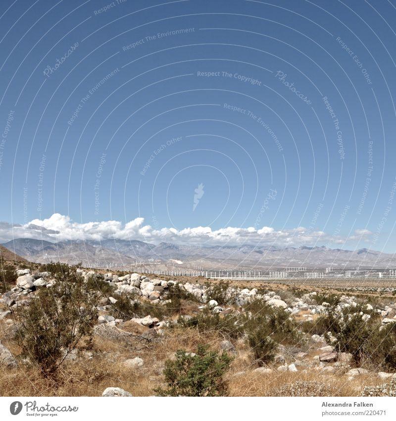 Wind turbine park. Environment Nature Landscape Sky Clouds Climate Mountain Desert Blue Wind energy plant Park Energy Energy industry Bushes Energy crisis