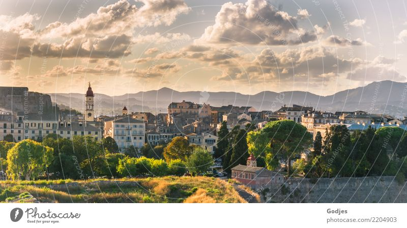 City views Kérkira V Tree Grass Bushes Mountain Corfu Capital city Port City Downtown Skyline House (Residential Structure) Church Building Architecture