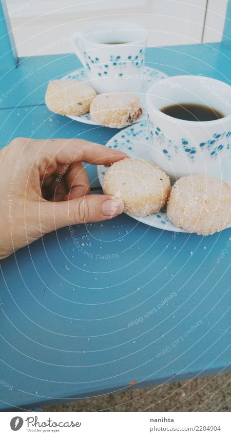 Teacups and traditional shortbread Food Dough Baked goods Candy Nutrition Eating Breakfast To have a coffee Beverage Hot drink Coffee Crockery Plate Mug Touch