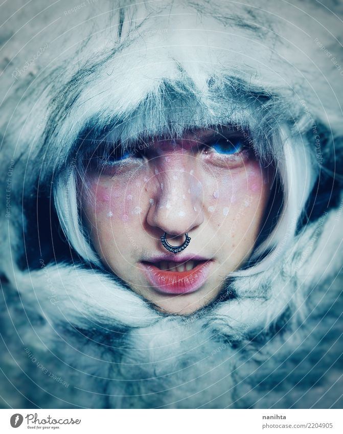 Artistic portrait of a wild woman covered by fur Design Exotic Beautiful Skin Face Make-up Human being Feminine Young woman Youth (Young adults) 1 18 - 30 years