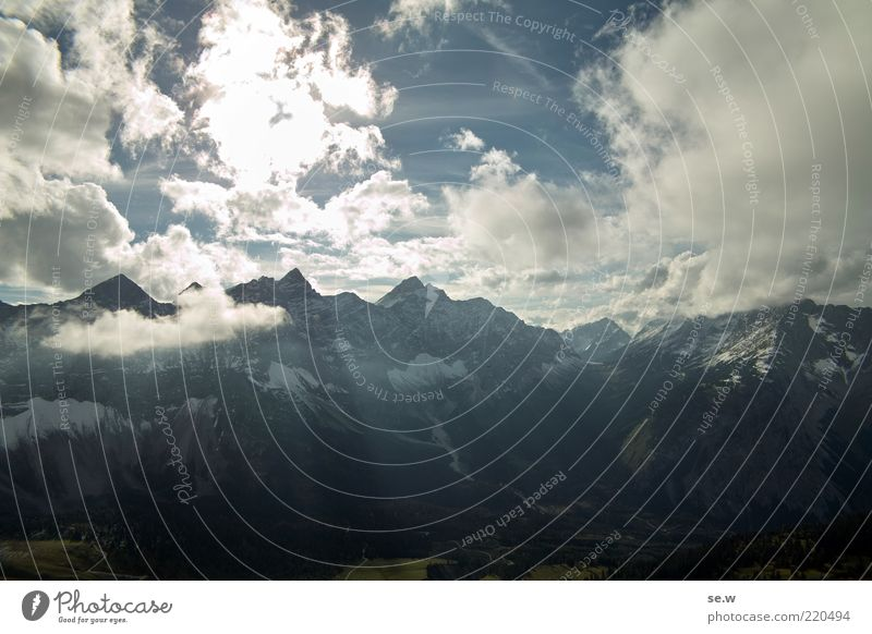 Sky White Blue Summer Calm Black Clouds Loneliness Mountain Alps Peak Illuminate Beautiful weather Wanderlust Bavaria Clouds in the sky