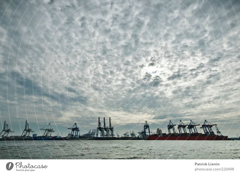 Water Sky Clouds Far-off places Gray Landscape Air Moody Weather Environment Hamburg Gloomy Logistics Harbour Economy