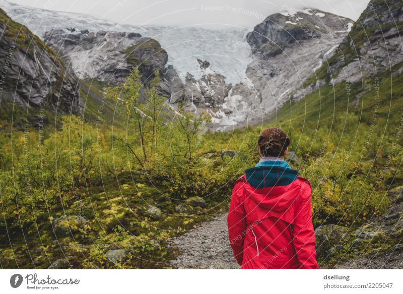 Human being Vacation & Travel Youth (Young adults) Young woman Summer Green Landscape Red Clouds Far-off places Mountain 18 - 30 years Adults Cold Autumn