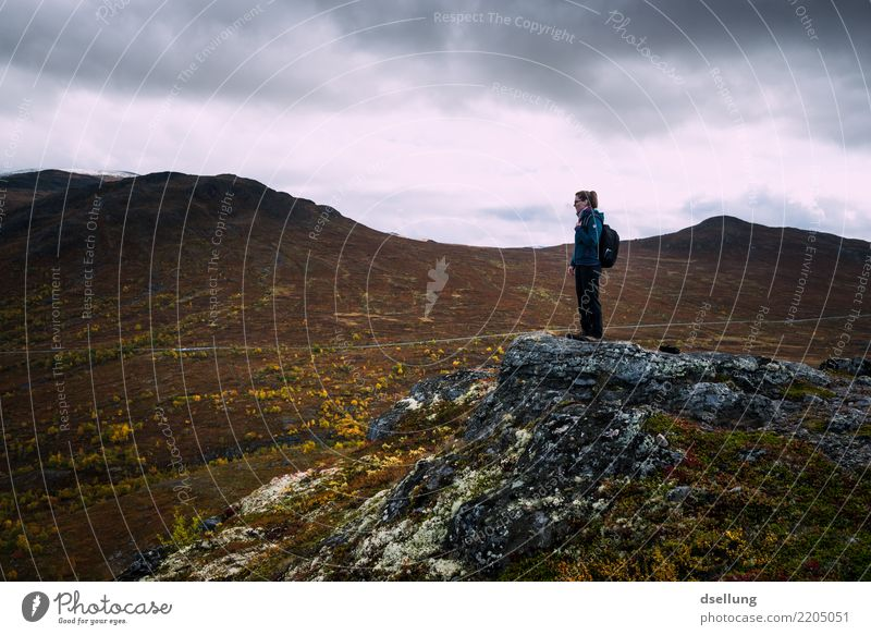 Woman standing on a rock while hiking in nature - autumn colours Vacation & Travel Trip Adventure Far-off places Freedom Summer Summer vacation Mountain Hiking