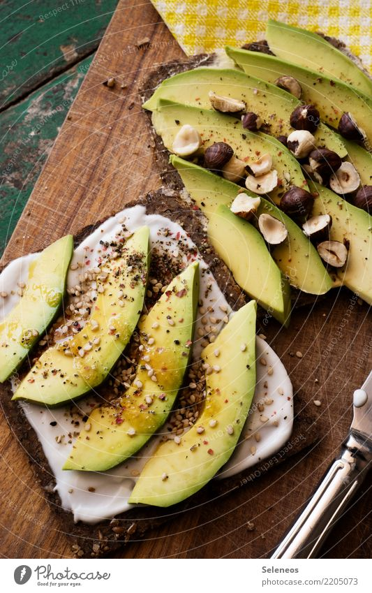 avocado Food Vegetable Bread Herbs and spices Avocado Nut Hazelnut kernel Sesame Yoghurt Black bread Nutrition Eating Organic produce Vegetarian diet Diet