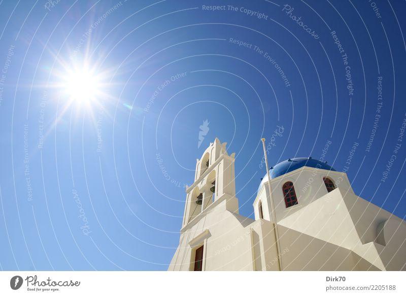 Sky Vacation & Travel Blue Summer White Sun Tourism Facade Bright Illuminate Glittering Church Esthetic Beautiful weather Hope Tourist Attraction