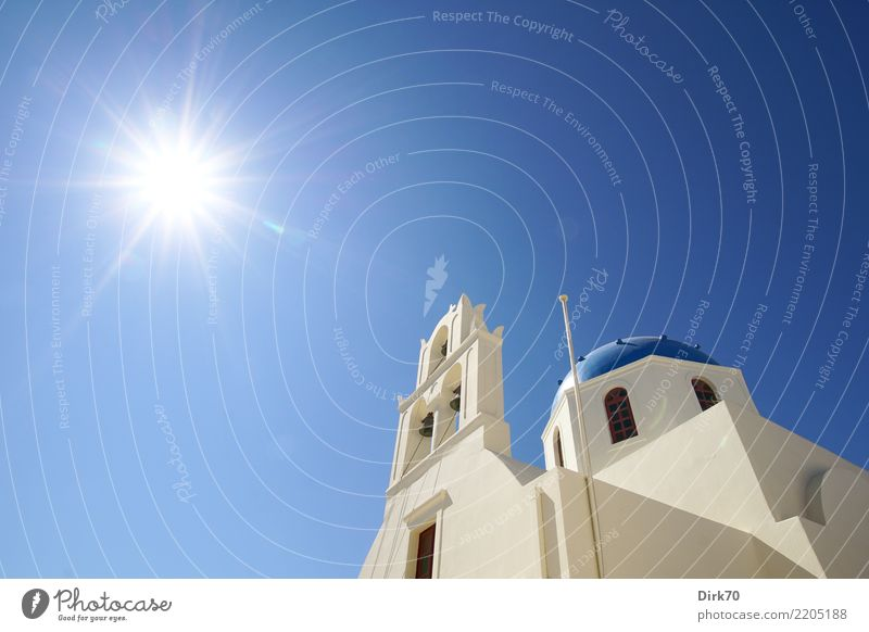 Sun of Santorini Vacation & Travel Tourism Cruise Summer vacation Sky Cloudless sky Sunlight Beautiful weather Oia Aegean Sea Old town Church Facade Domed roof