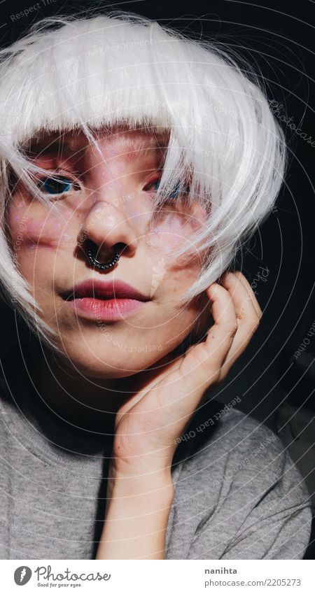Mysterious young woman with white hair Beautiful Hair and hairstyles Skin Face Make-up Human being Feminine Androgynous Young woman Youth (Young adults) 1