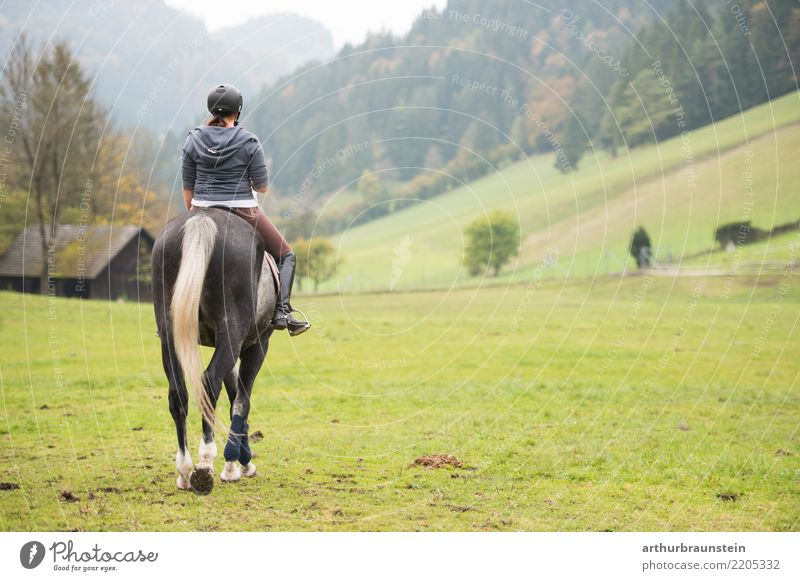 Young woman riding a horse in nature Lifestyle Athletic Leisure and hobbies Ride Vacation & Travel Tourism Trip Sports Equestrian sports Agriculture Forestry