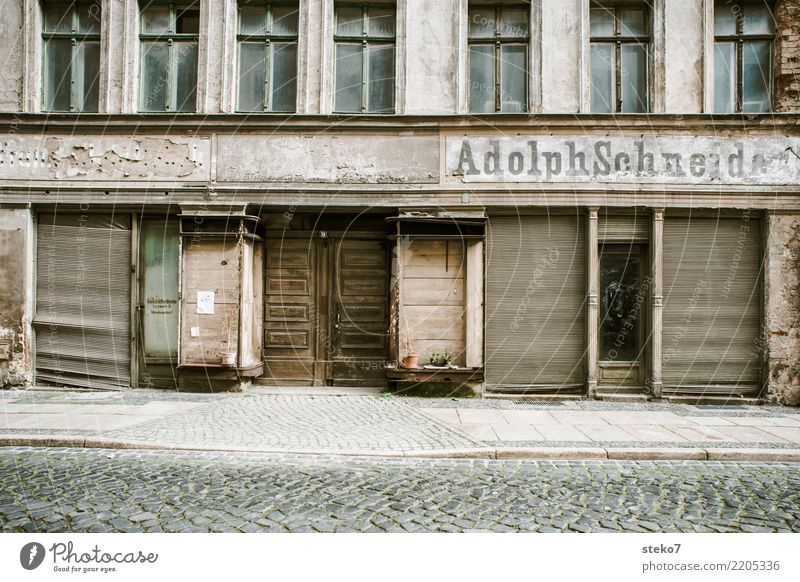withered landscape goerlitz Old town Ruin Facade Window Door Poverty Apocalyptic sentiment Shopping Competition Fiasco Decline Past Transience Change Insolvency
