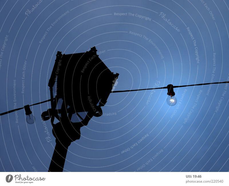 Sky Old Blue Beautiful Black Loneliness Dark Cold Air Metal Lamp Line Glittering Authentic Gloomy Illuminate