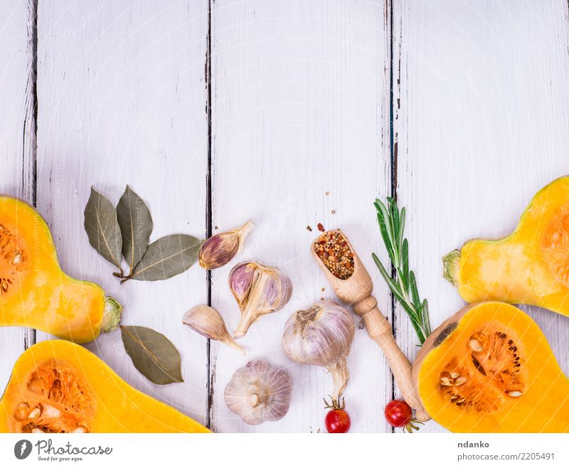 pumpkin on a white wooden background Nature White Dish Eating Yellow Autumn Natural Wood Health care Nutrition Decoration Fresh Table Herbs and spices Kitchen