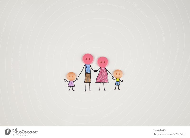 Family - creative representation Together in common Drawing Stick figure Cute Love Attachment at the same time Domestic happiness Family planning concept