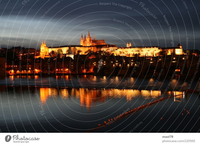 Prague by night River The Moldau Capital city Old town Deserted House (Residential Structure) Church Dome Manmade structures Tourist Attraction Caution Calm