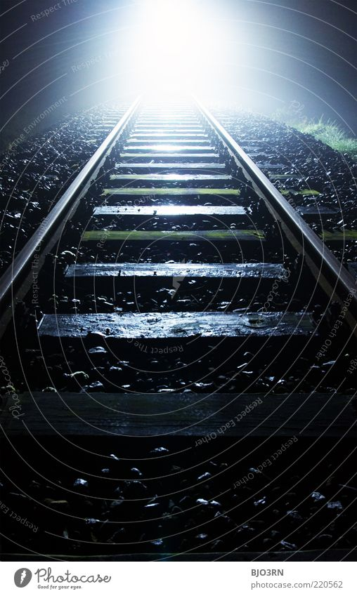 oncoming... | train tracks Railroad tracks Threat Grief Death Pain Exhaustion Fear Distress Embitterment End Dark Near Black White Creepy Loneliness Frustration
