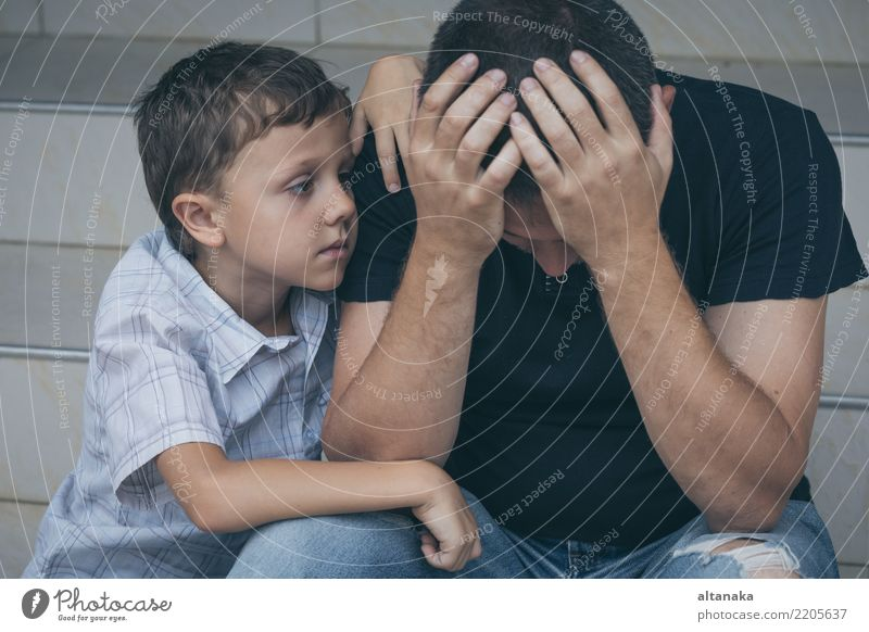 Portrait of young sad little boy and father Child Man Face Adults Sadness Emotions Family & Relations Boy (child) Together Fear Infancy Grief Pain Stress Father