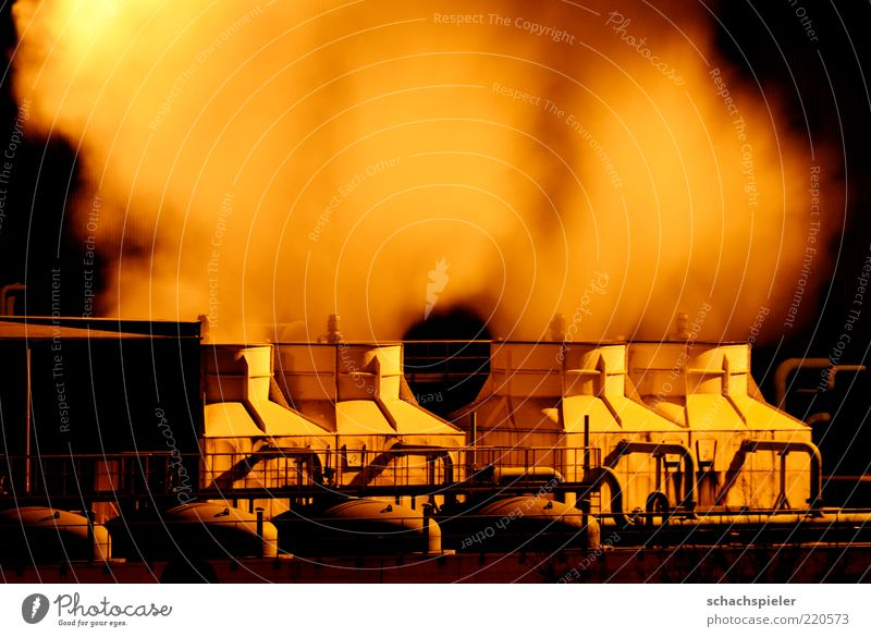Let off steam Industry Industrial plant Factory Environment Environmental pollution Boiler Steam Steel factory Night shot Colour photo Exterior shot
