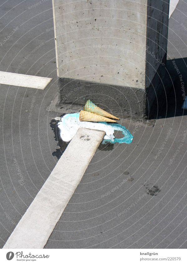 White Green Nutrition Gray Food Concrete Lie Ice cream Sweet Trash Fluid Column Parking lot Remainder Environmental pollution Adversity