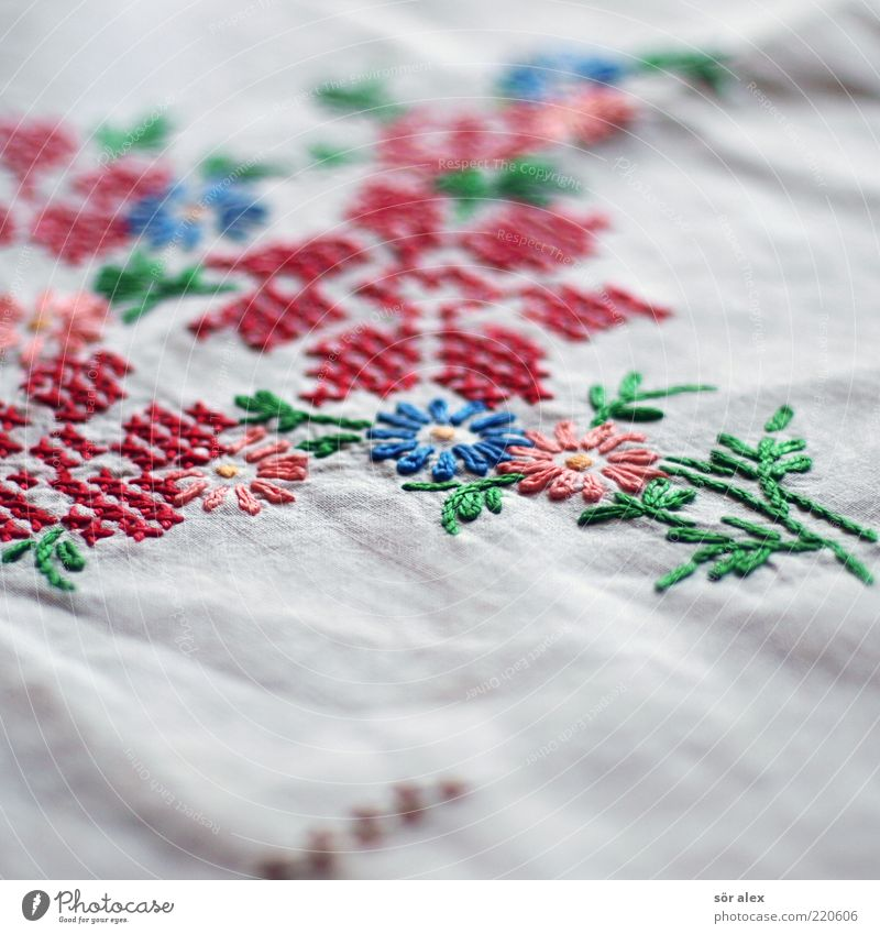 Flower tablecloth Embroidery Linen cloth Old Kitsch Beautiful Blue Green Red White Noble Decoration Handcrafts Nostalgia Former Past Design Memory Colour photo