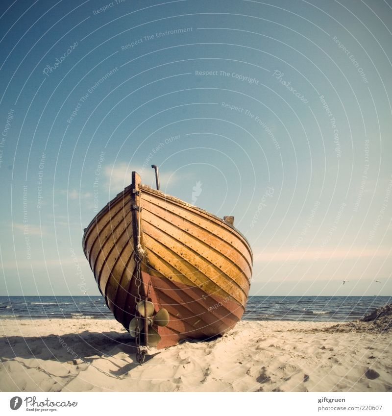 flotsam and jetsam Environment Nature Landscape Elements Sand Water Sky Beautiful weather Waves Coast Beach Baltic Sea Ocean Fishing boat Old Flotsam and jetsam