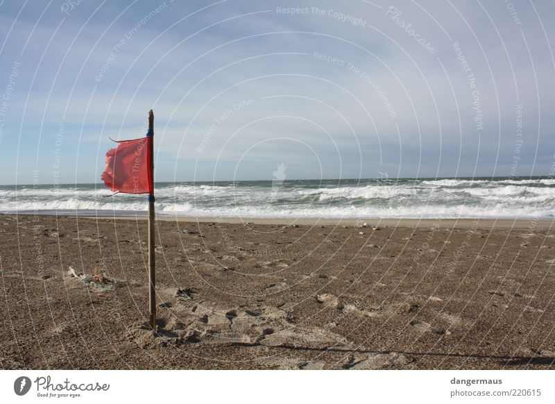 Red Flag Beach Ocean Sandy beach Nature Landscape Water Clouds Horizon Beautiful weather Wind Waves Coast North Sea Wanderlust Exterior shot Copy Space right