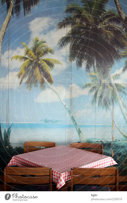 Caribbean dreams Chair Table Gastronomy Beach Wall (barrier) Wall (building) Exotic Retro Trashy Gloomy Blue Red Longing Wanderlust Perspective Tourism Decline