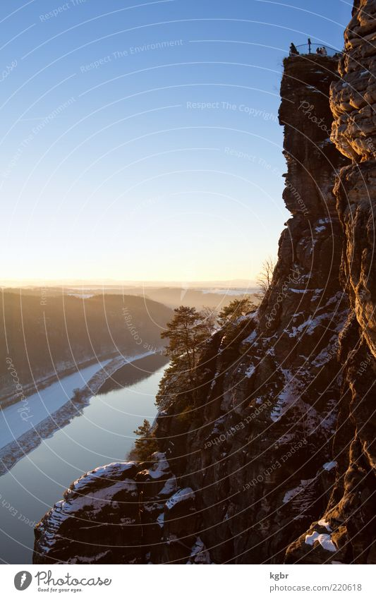 bastion Winter Nature Landscape Sky Horizon Sunrise Sunset Beautiful weather Rock Mountain Canyon Germany Stone Saxony Sandstone Elbe Elbsandstone mountains