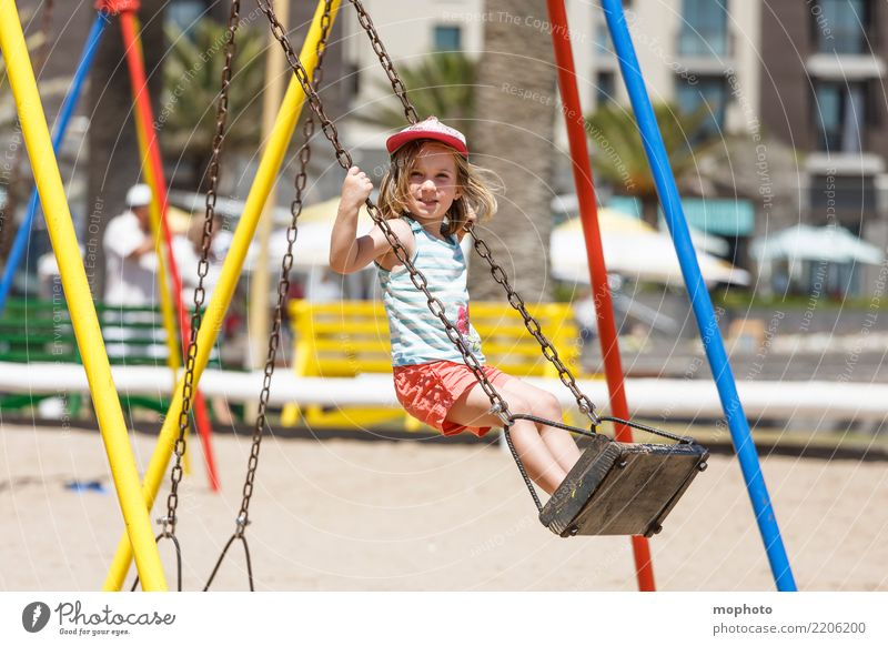 Swingin´ Lifestyle Joy Playing Parenting Kindergarten Child Girl 1 Human being 3 - 8 years Infancy Nature Sand Playground Smiling To swing Stand Happiness