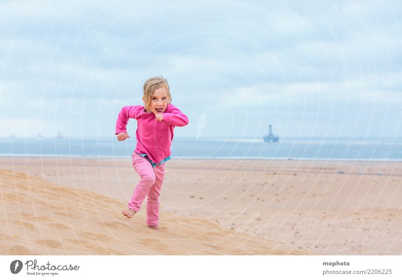 Child Human being Nature Vacation & Travel Landscape Joy Girl Beach Life Lifestyle Happy Playing Freedom Pink Sand Infancy