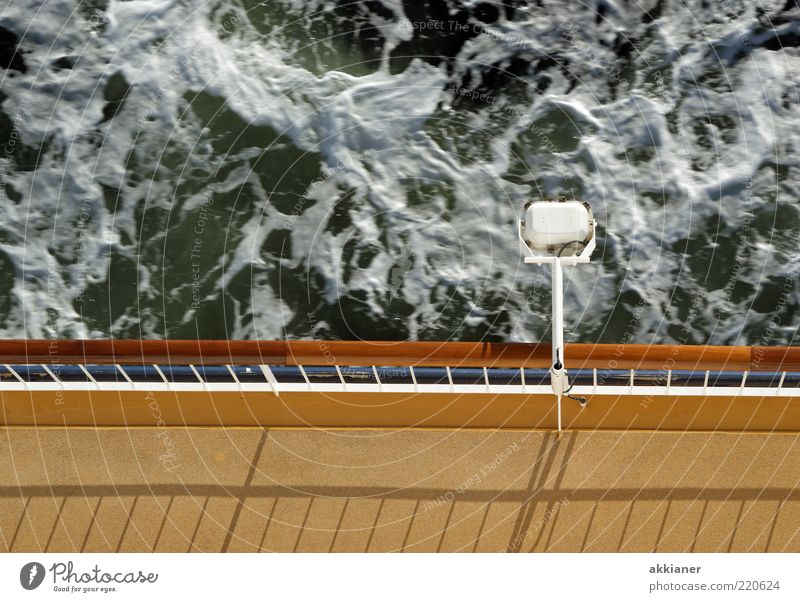 lower deck Environment Nature Waves Baltic Sea Ocean Wet Lamp Handrail Watercraft Ferry Deck Colour photo Subdued colour Exterior shot Deserted Day Light Shadow