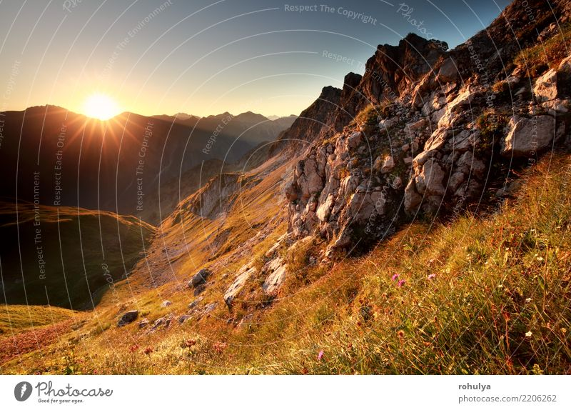gold sunrise in mountains during summer Vacation & Travel Adventure Summer Sun Mountain Nature Landscape Sky Meadow Rock Alps River Stone Blue Serene star