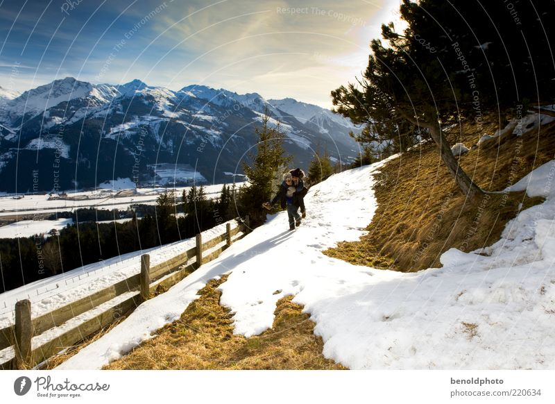 Human being Winter Adults Far-off places Love Life Snow Landscape Freedom Emotions Mountain Movement Happy Lanes & trails Moody Couple