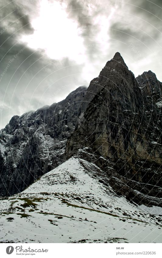 White Clouds Winter Loneliness Black Dark Snow Mountain Gray Lanes & trails Rock Threat Elements Alps Longing Fantastic